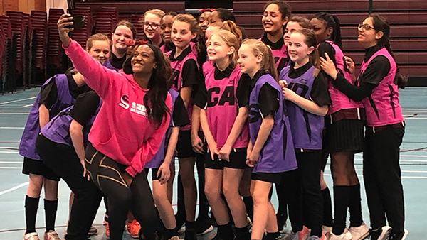 My School Rewards winners receive a visit from netball athlete Sasha Corbin